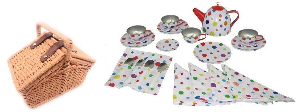 Oojami Children's Tin Tea Set with Polka Dots Includes a Basket