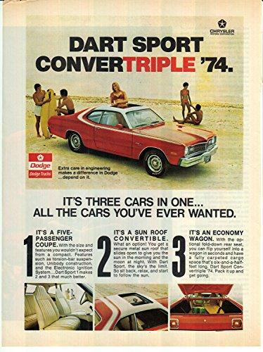1974 Dodge Dart Sport Convertible Original Magazine Ad Chrysler Sunroof (Chrysler Sunroof)