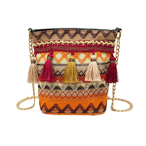 body Bags for Women,iOPQO Vine Knitting Tassel Beach Shoulder Bag