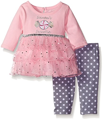 Youngland Baby Girls' Santa's Sweetie Candy Applique Top and Polka Dot Legging Set, Pink/Grey, 0-3 (Applique Santa)
