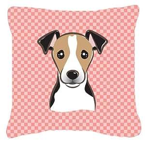 Tablero de ajedrez color rosa Jack Russell Terrier tela de lona decorativa almohada BB1261PW1818