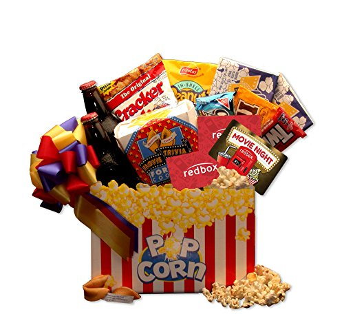 Snack Basket Gift Basket Movie Night Mania Gift Box with 10.00 Redbox Gift Card ()