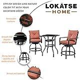 LOKATSE HOME Patio Bar Height Set with 2 Outdoor