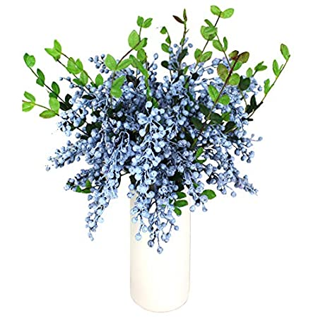 Htmeing Artificial Christmas Berry Twig Stem,21.6 Inch,Set of 4 Blue