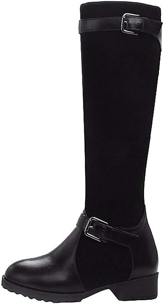 Hombre Zapatillas ZARLLE Botas Altas de Mujer Otoño e Invierno Moda Botas Mujer Zapatos de Tacón Ocio Botas Medias con Hebilla,Botas Altas Planas Mujer