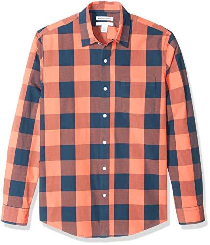 Amazon Essentials Men's Slim-Fit Long-Sleeve Check Shirt, Blue/Orange Buffalo, - Orange Buffalo