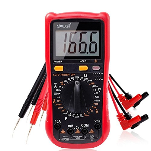 Multimeter, Exwell Digital Multimeter with Two Sets Multimeter Test Leads, 7.3x3.5x1.9 Inches Voltage Tester/Meter Black Protective Case Included