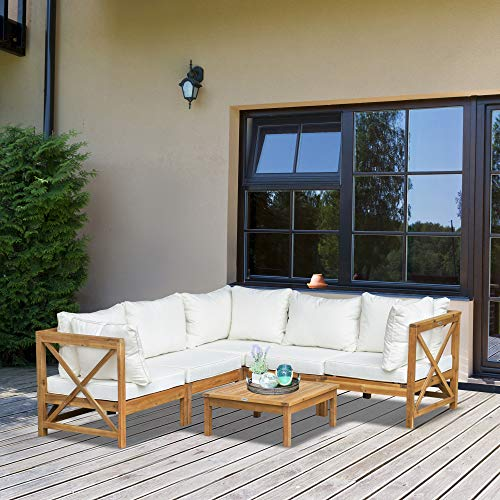 Outsunny 6 PCS Wooden Garden Sofa Set with Coffee Table