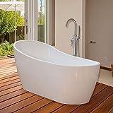 WOODBRIDGE 67'' Modern Bathroom Glossy Acrylic Slipper Freestanding Bathtub B-0001 White