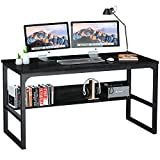 Computer Desk with Bookshelf 55'' for Home Office Sturdy Writing and Study Desk, Coleshome, Black