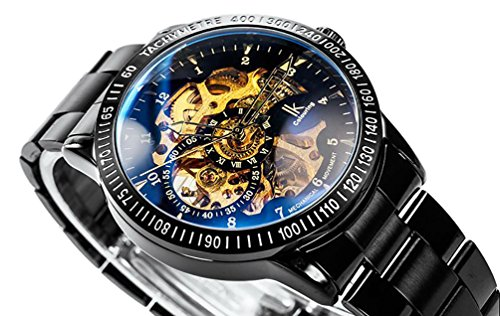 GuTe Casual Mens Black Steel Skeleton Automatic Mechanical Coated Glass Wristwatch Golden (Mens Steel Mechanical Watch)
