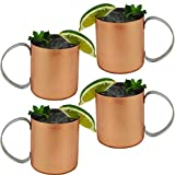 Set of 4 - Copper Mug for Moscow Mules - 12 oz Copper-Clad Stainless Novelty Cup