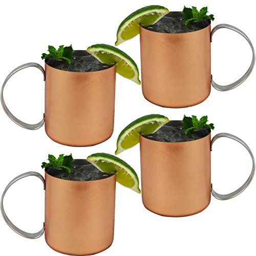 Set of 4 - Copper Mug for Moscow Mules - 12 oz Copper-Clad Stainless Novelty Cup by Mugs