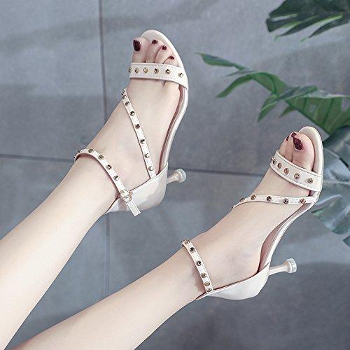 Donyyyy Thin heel high heels Remache cabeza redonda sandalias femenino Thirty-seven