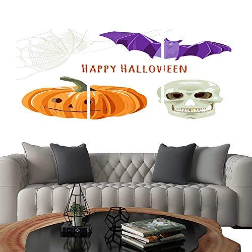 UHOO Canvas Print Wall Art Set of Halloween Symbols Orange Pumpkin bat Skull Spiderweb Collection for Design on White Background Digital Draw Flat Illustration Vector. Art Stickers 20