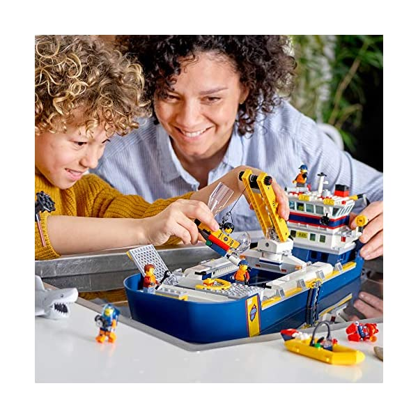 LEGO City Ocean Exploration Ship 60266, Toy Exploration Vessel, Mini Helicopter, Submarine, Shipwreck with Treasure…