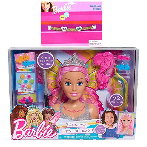 Multiple Barbie Dreamtopia Styling Head Doll Playset Bundle Gift Set with Rubie's Vintage 1993 Rare! Barbie Necklace Rope Charm Costume Accessory -