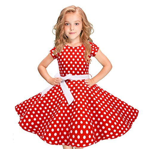 selina5858 Vintage Polka Dot Swing Girls Dress 1950s Retro Style Short Sleeve Cotton Red Black 5T 6T 7T 8T 9T 10T 11T 12T by selina5858