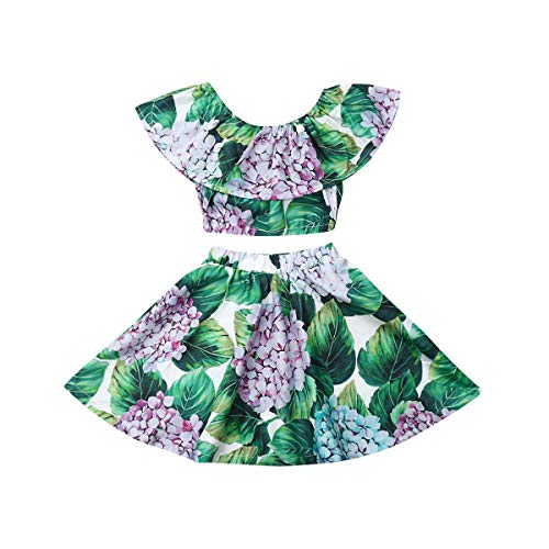 (Toddler Baby Girls Ruffle Strap Top+Boho Floral Skirt Summer Outfit Clothes Two Piece Set (Full Floral-Hydrangea, 3-4T))