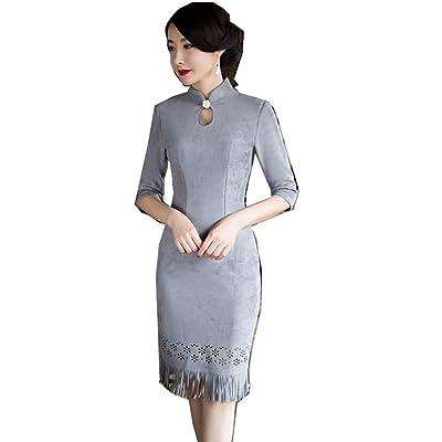 027b469e80446 (上海物語)Shanghai Story スエード チャイナドレスデザイン ワンピース 中国風チーパオ 女性用