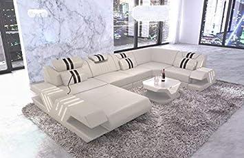Sofa Dreams Leder Wohnlandschaft Venedig U Form Beige Schwarz