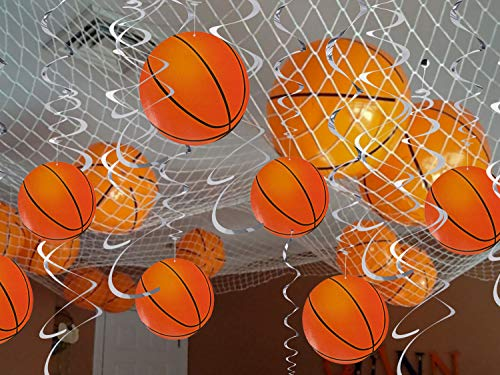 Basketball Hanging Swirl Decorations 24pcs - Sport Birthday Party Supplies ()