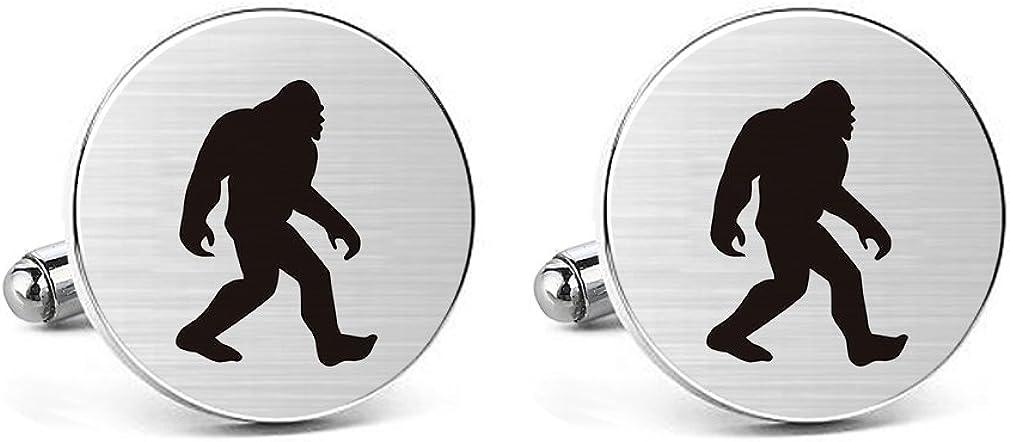 MUEEU Ape Cufflinks Engraved Man Bigfoot Wildman Stainless Steel Wedding Groom Tie Bar Tack Clips