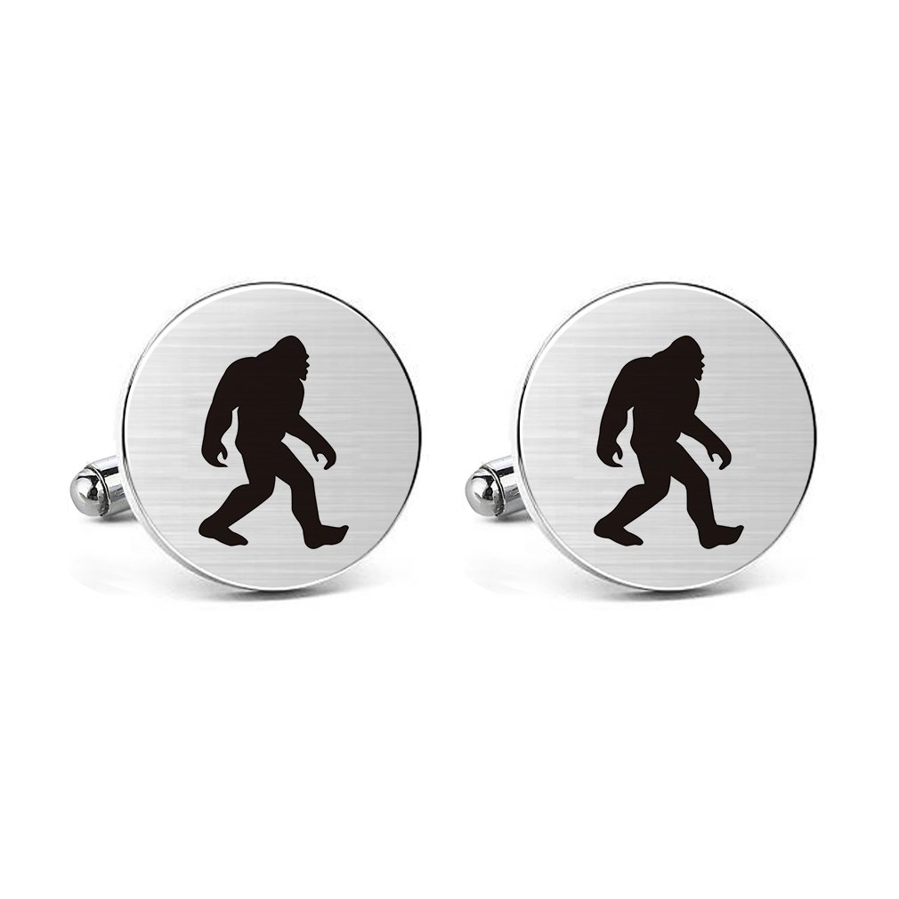 Amazon.com: MUEEU Ape Cufflinks Engraved Man Bigfoot Wildman Stainless Steel Wedding Birthday Dad Groom Tie Bar Tack Clips (Round Cufflinks): Jewelry