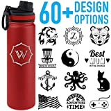 Tempercraft 22oz Vacuum Insulated Sport Bottle Custom Engraved Red Deal (Small Image)