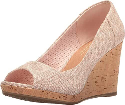 TOMS Women's Stella Wedge Pale Pink Lurex Woven Wedge