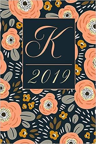 February Monogram Calendar 2019 Amazon.com: K: Letter K 2019 Yearly Planner Calendar, Ditzy