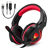 Gaming Headset for Xbox One PS4 PC, Gintenco Foldable Noise Cancelling Ear Headphones with Microphone and LED Lights Surround Stereo Volume Control Headsets for Laptop Mac Nintendo Switch Game (Red)