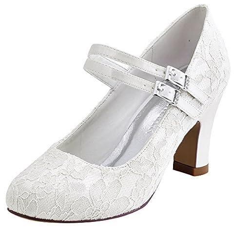 ElegantPark HC1708 Women Mary Jane Block Heel Pumps Closed Toe Lace Bridal Wedding Shoes Ivory US 7 - Mary Jane Shoe Block Heel