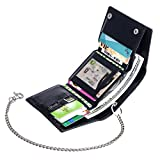 ManChDa RFID Blocking Money Clip Card Case Holder Slim Wallet Leather Front Pocket Wallet Black (4.Black Leather with one Removable Chain (RFID Blocking))