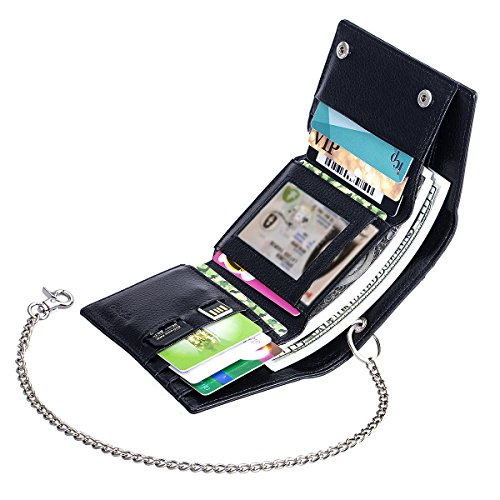 g Money Clip Card Case Holder Slim Wallet Leather Front Pocket Wallet Black (4.Black Leather with one Removable Chain (RFID Blocking)) (Chain Front Leather)