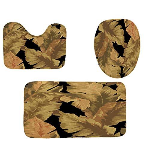 Khaki Leaf - Toilet mats Set Fiaya 3Pcs /4PCS Floral Leaf Cactus Multicolor Polyester Bathroom Set Rug Contour Mat+Toilet Lid Cover +Plan Solid Color Bath Mats +Shower Curtain (3PCS, Khaki Leaf)