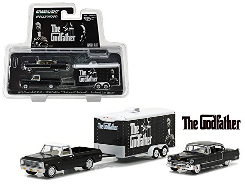 StarSun Depot 1972 Chevrolet C-10 with 1955 Cadillac Fleetwood Series 60 Special in Enclosed Car Trailer The Godfather Movie (1972) Hollywood Hitch & Tow Series 3 1/64 Model Cars by Greenlight
