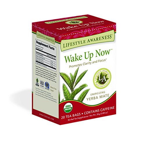 Lifestyle Awareness Wake Up Now Tea with Energizing Yerba Mate, Contains Caffeine, 20 Tea Bags, Pack of ()