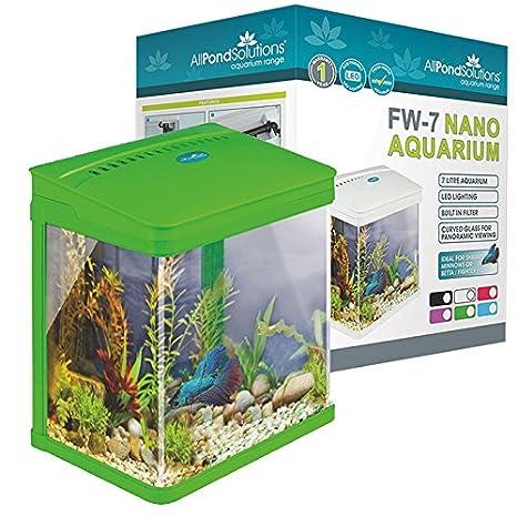 Todos Estanque Soluciones Nano Fish Tank Acuario/LED Luces, pequeño, 7 litros, Verde: Amazon.es: Productos para mascotas