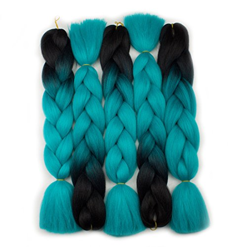 Forevery Braiding Hair Synthetic Ombre Hair Braiding Extensions High Temperature Fiber Crochet Twist Braids Black to Cyan Ombre Color (24