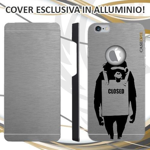 CUSTODIA COVER CASE CLOSED SCIMMIA PER IPHONE 6S ALLUMINIO TRASPARENTE