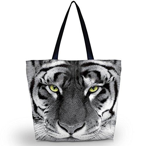 (Newplenty Ladies Zippered Light Shoulder Shopping Tote Bag Handbag Beach Satchel, Cool Tiger)