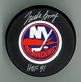 """Mike Bossy Autographed Islanders Puck w/ """"HOF"""" #2"""