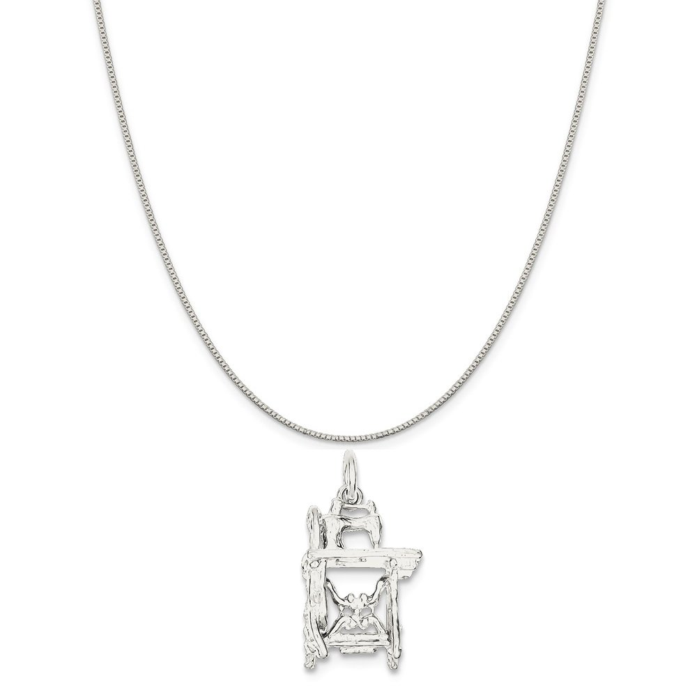 Mireval Sterling Silver Sewing Machine Charm on a Sterling Silver Chain Necklace 16-20