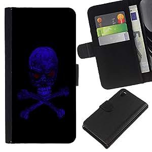 EJOY---La carpeta del tirón la caja de cuero de alta calidad de la PU Caso protector / Sony Xperia Z3 D6603 / --Azul Skull Evil