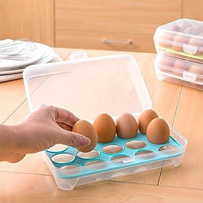 Bandeja de huevo para nevera, 15 huevos con tapa, contenedor de ...