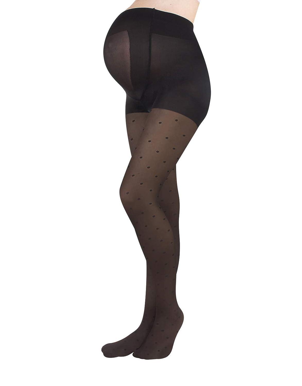 Feine Umstandsstrumpfhose mit Punkten | Schwangerschafts Strumpfhose mit Muster | Übergangszeit Mode | S, M, L, XL | Schwarz | 20 DEN | Made in Italy 01224