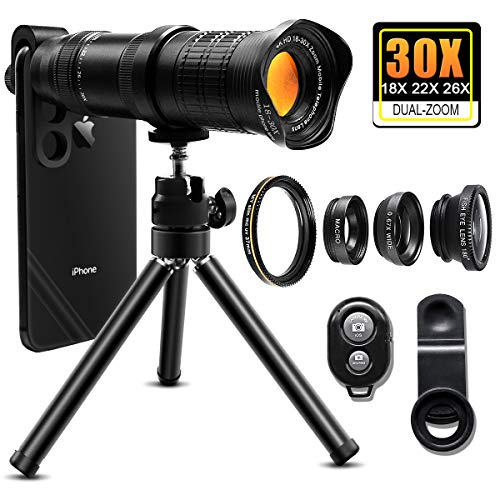 30X Cell Phone Camera Lens, 4 in 1 HD Phone Photography Lens Kit - 18X-30X Zoom Monocular Telephoto Lens - Remote Shutter & Flexible Phone Tripod, Wide Angle, Fisheye & MacroLens for Smartphones