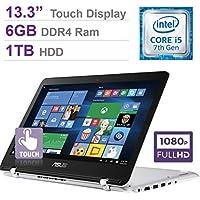 2017 Newest ASUS 13.3'' 2-in-1 Touchscreen FHD (1920 x 1080) Laptop PC, 7th Intel Core i5-7200u, 6GB DDR4 SDRAM, 1TB HDD, Backlit Keyboard, Built-in fingerprint reader, HDMI, Bluetooth, Windows 10
