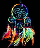 Betterdecor Beautiful Handmade Dream Catcher Hanging Ornament (with a Gift Bag)- Bright Multi Colors (Rainbow)
